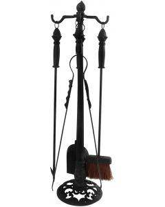 Esschert Design 4-piece Fireplace tool set with holder